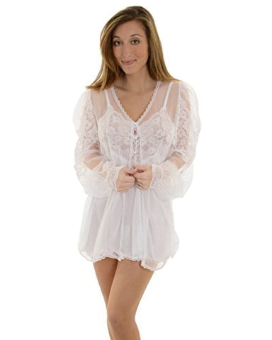 FANTASY SS7040 3 Piece Peignoir, Babydoll, & G-String color:WHITE size:S