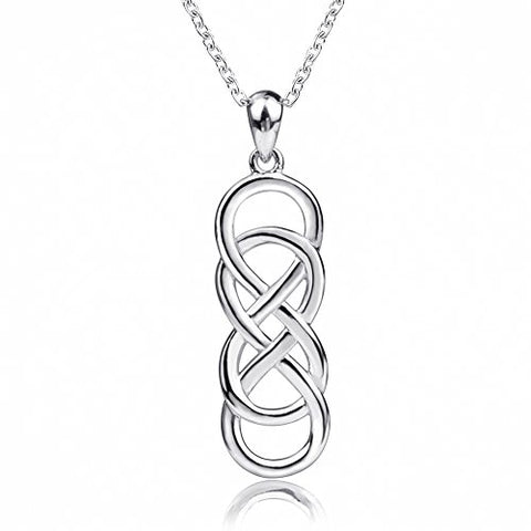YG 925 Sterling Silver Plated White-gold Double Infinite Endless symbol form an Irish Celtic Knot Charm Pendant Necklace for women chain 18