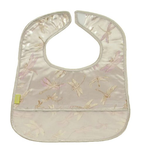 Set of 2 Brocade Baby Bibs in Silver Dragonfly Pattern
