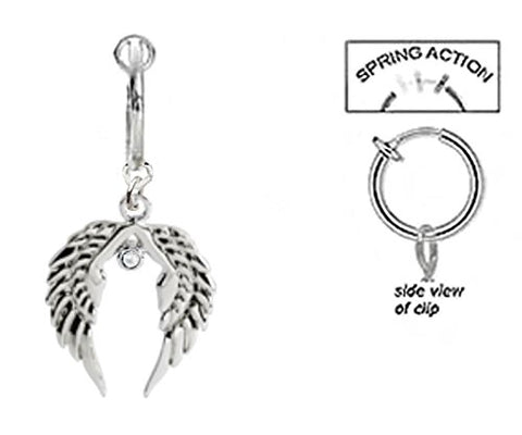 Fake Belly Navel Non Clip on Clear cz Tribal angel Wings dangle Ring