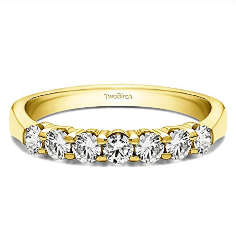 0.7Ct Seven Stone Shared Prong Tapered Shank Wedding ring in Yellow Plated Sterling Silver Cubic Zirconia(Size 3 to 15 in 1/4 Size Intervals)