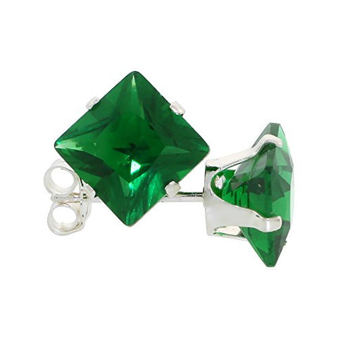 Sterling Silver Cubic Zirconia Square Emerald Earrings Studs 7 mm Princess cut Green Color 4 carat/pair