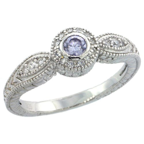 Sterling Silver Vintage Style Engagement Ring w/ Brilliant Cut Clear & Alexandrite (Center) CZ Stones, 1/4 in. (7mm) wide, size 8