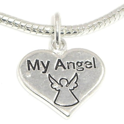 Jewelry Monster Silver Finish  Dangling My Angel Heart  Charm Bead for Snake Chain Charm Bracelet