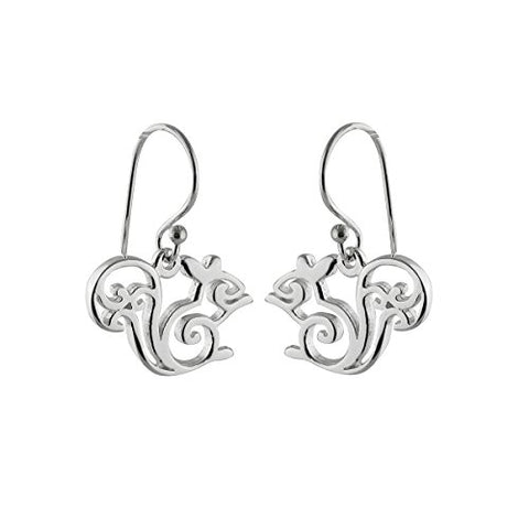 Sterling Silver Squirrel Dangle Earrings, French Ear Wires