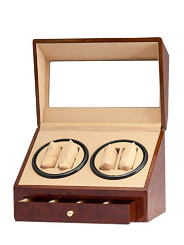 4+4 Burl Wood Quad Watch Winder Automatic Rotation Storage Display Jewelry Box Case Organizers Drawer