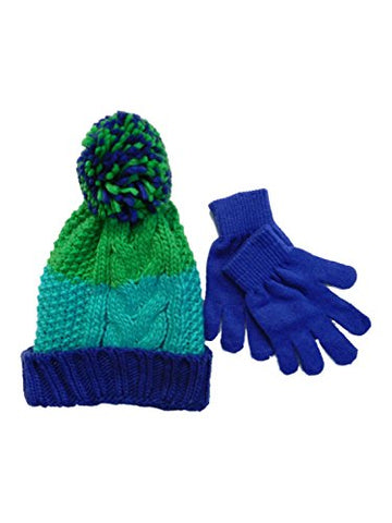 Berkshire Girls Green & Blue Striped Cable Knit Beanie Pom Pom Hat & Gloves Set