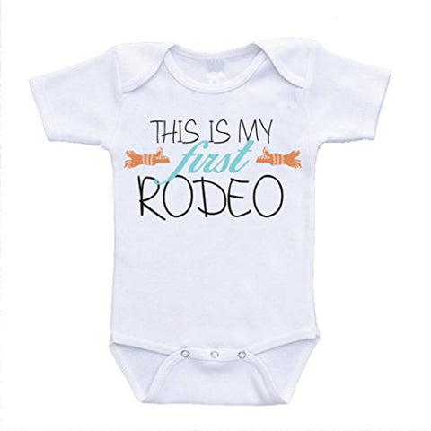 This Is My First Rodeo funny baby onesies cute rompers one piece bodysuits cheap affordable infant clothing (6-9 Months) (18 Months)