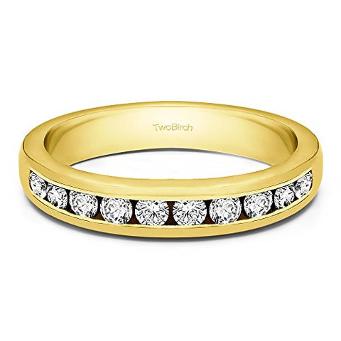 0.75Ct Anniversary Wedding band in Yellow Plated Sterling Silver CZ(Size 3 to 15 in 1/4 Size Intervals)