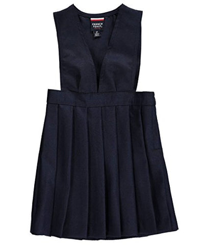 French Toast V Neck Pleated Jumper - navy, 3t