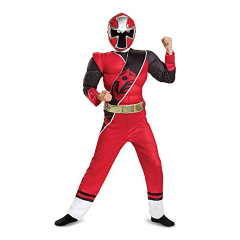 Power Rangers Ninja Steel Muscle Costume, Red, Medium (7-8)