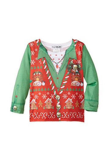 Faux Real Kid's Ugly Xmas Vest Tee, White, 2T US
