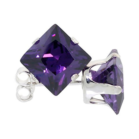 Sterling Silver Cubic Zirconia Square Amethyst Earrings Studs 7 mm Princess cut Purple Color 4 carat/pair