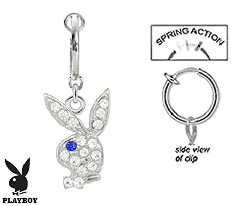 Fake Belly Navel Non Clip on Officially Licensed Clear cz Playboy Bunny w/ Blue eye rabbit dangle Ring