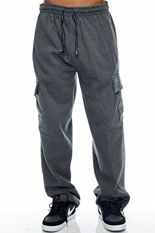 Pro Club Cargo Sweat pants 13oz Heavy Weight 60/40 S-5XL (2X-Large (44 -46 ), Heather Charcoal)