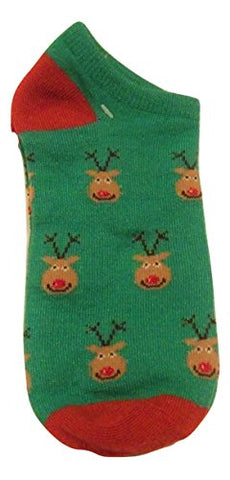 Kids Christmas Sparkly Ankle Sock ~ Size 9-11, Shoe 4-10 (Rudolph Faces)