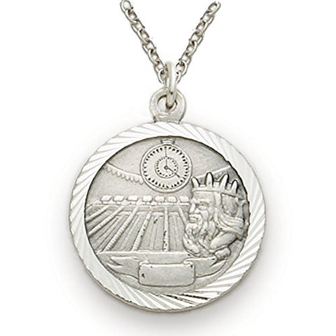 Sterling Silver Swimming Sports Medal with Saint Christopher Back, 3/4 Inch