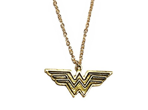 Wonder Woman Logo Antique Goldtone Pendant with 18  Chain