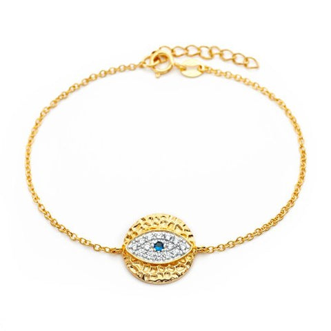 Yellow Gold Plated Sterling Silver High Polish Finish Pave Set CZ Round Evil Eye Bracelet
