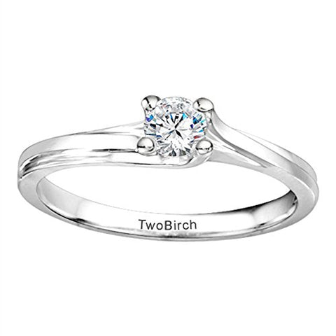 0.2 ct. CZ Bypass Solitaire Engagement Ring in Silver (1/5 ct) (Size 3 to 15 in 1/4 Sizes)