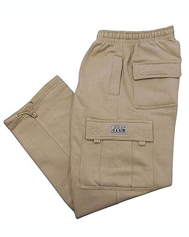 Pro Club Cargo Sweat pants 13oz Heavy Weight 60/40 S-5XL (2X-Large (44 -46 ), Khaki)