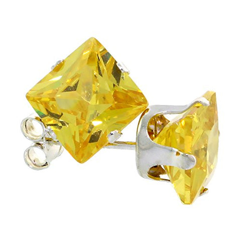 Sterling Silver Cubic Zirconia Square Citrine Earrings Studs 7 mm Princess cut Yellow 4 carat/pair