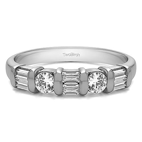 1Ct Baguette and Round Bar Set Wedding ring in Sterling Silver CZ(Size 3 to 15 in 1/4 Size Intervals)