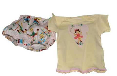 Vintage-style Jump Rope Lap T & Diaper Cover