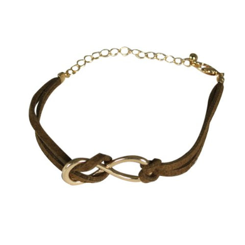Wrapables Leather Infinity Bracelet - Brown