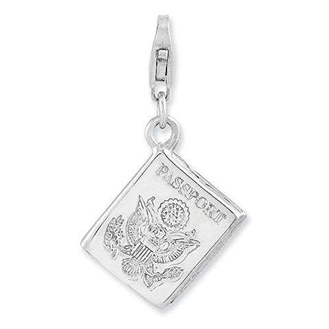 Sterling Silver Rhodium-plated 3-D Passport w/Lobster Clasp Charm