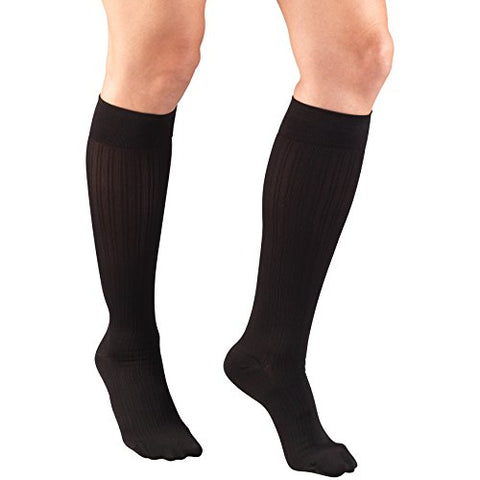 Truform Compression Socks for Women, 15-20 mmHg, Black Rib Pattern, X-Large