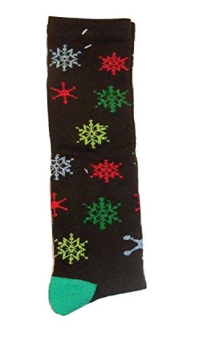 Sparkly Knee-High Sock ~ Size 9-11, Shoe 4-10 (Giant Multicolored Snowflakes)