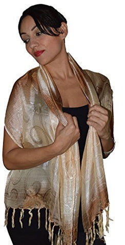 Moroccan Shoulder Shawl Breathable Oblong Head Scarf Silky Soft Exquisite Wrap Beige