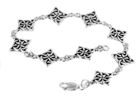 Sterling Silver Celtic Knot North Star Link 7  Bracelet