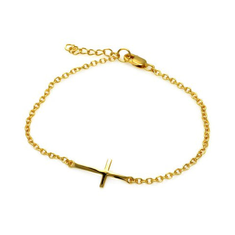 Sterling Silver Yellow Gold Plated High Polish Sideways Cross Bracelet