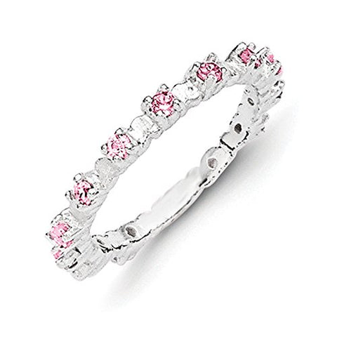 Sterling Silver Pink and White Cubic Zirconia Kid's Ring - Size 3