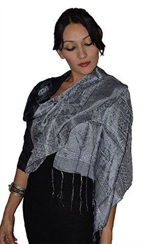 Moroccan Shoulder Shawl Breathable Oblong Head Scarf Silky Soft Exquisite Wrap Black Grey