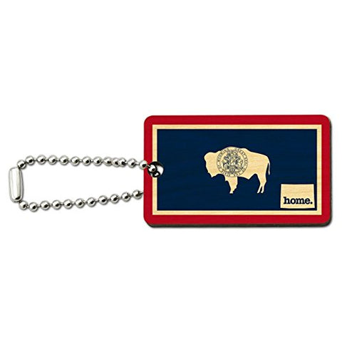 Wyoming WY Home State Wood Wooden Rectangle Key Chain - Flag