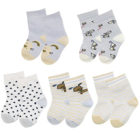 Wrapables Doggy and Stripes Toddler Socks (Set of 5)