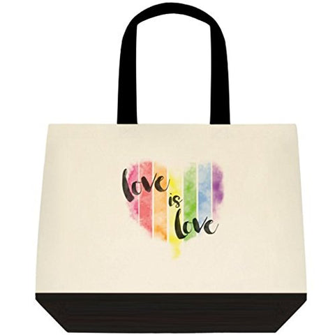 Heartfelt Hospitality  Love is Love  LGBT Pride Rainbow Tote for Gifts, Wedding, Grocery