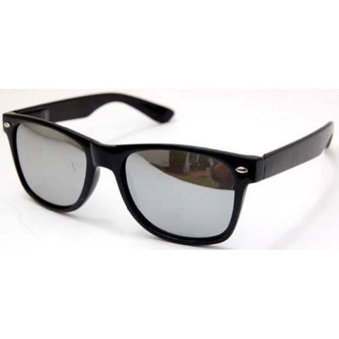 Blues Brothers Trendy Style Sunglasses - Black / Mirror Lens