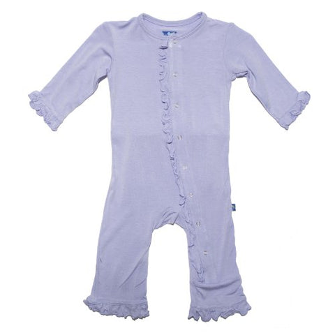 KicKee Pants Toddler-Girls Ruffle Muffin Coverall Pajamas- Lilac, 3T