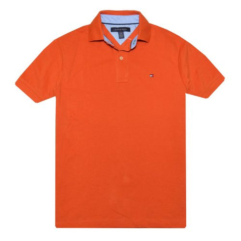 Tommy Hilfiger Classic Fit Men Polo T-shirt (XL, Strong orange)