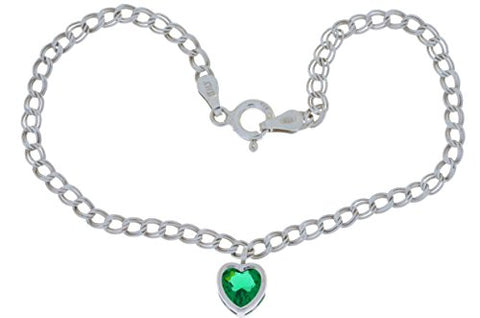 Simulated Emerald Heart Bezel Bracelet .925 Sterling Silver Rhodium Finish