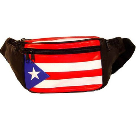 Genuine Leather Puerto Rico Flag Fanny Pack Purse for Men & women