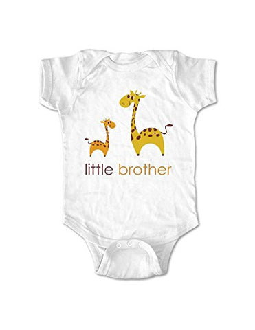 Little brother giraffe design No. 1 - birth pregnancy announcement baby one piece bodysuit (Newborn, White)