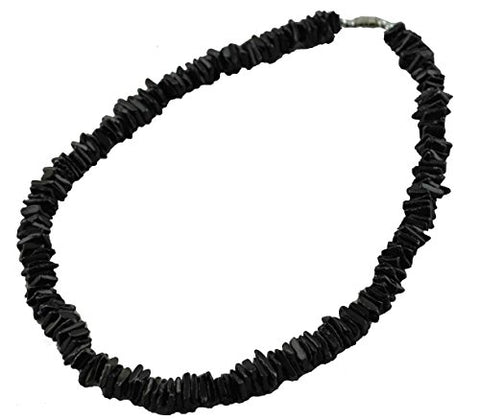 Tiger Smile Real Chips Puka Shell Necklace 18  Black