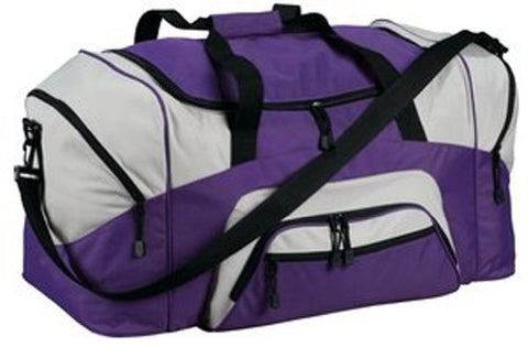 Upscale 100% Polyester Sport Duffel Bag with Large Compartments - Purple/Grey