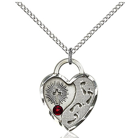 Sterling Silver Footprints Heart Pendant with 3mm January Red Swarovski Crystal 3/4 x 5/8 inches with Lite Curb Chain