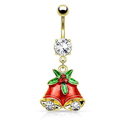 Mistletoe Jingle Bells Gold-Tone Anodized Stainless Steel Dangle Christmas Belly Ring